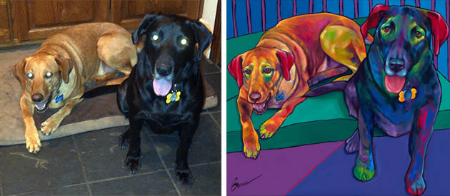 dog paintings from photos by Ron Burns
