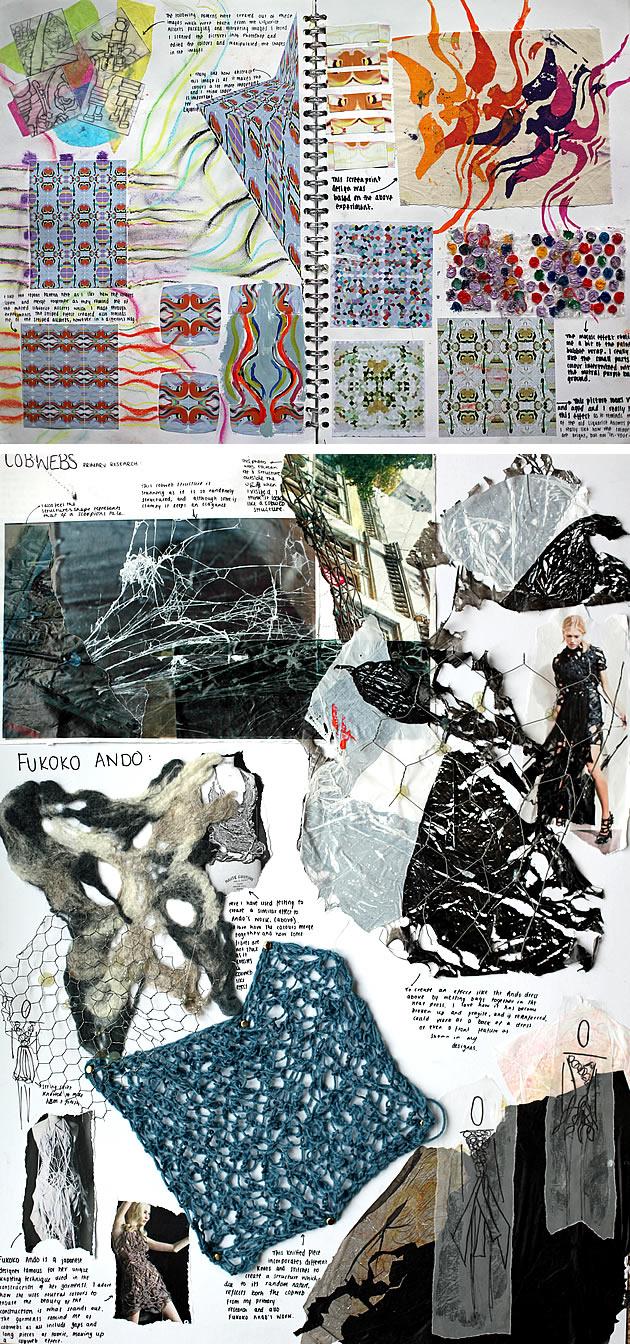 A Level fashion design sketchbook