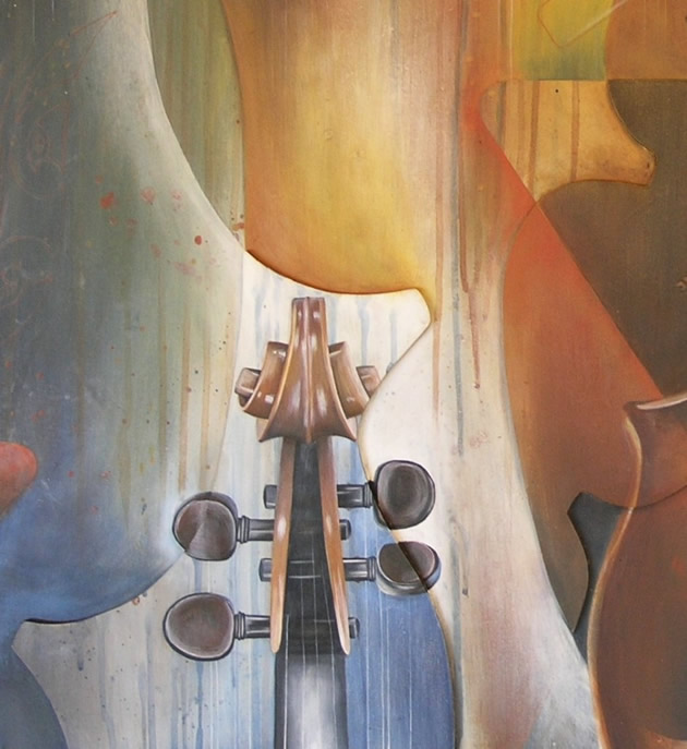 contemporary painting of a violin, AS Art and Design