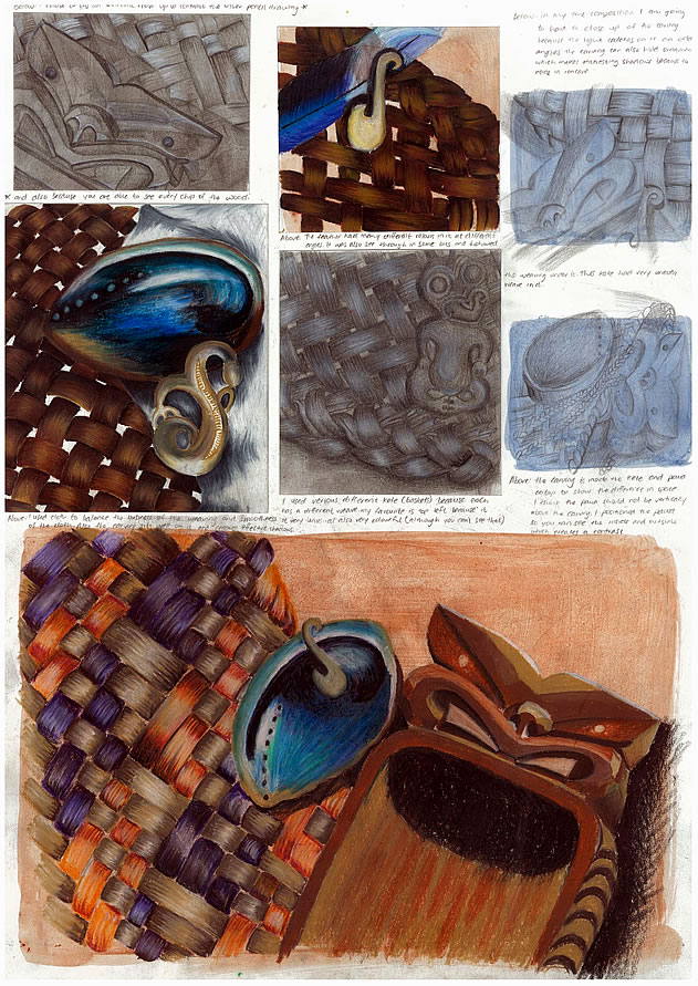 GCSE Art sketchbook page with drawings of carvings