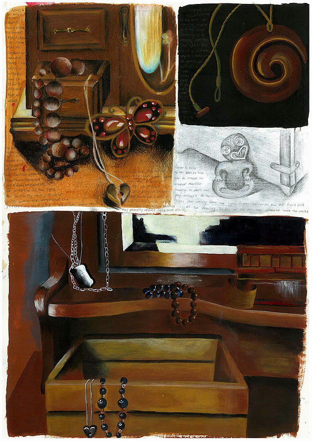 GCSE Art sketchbook page - drawings of jewellery