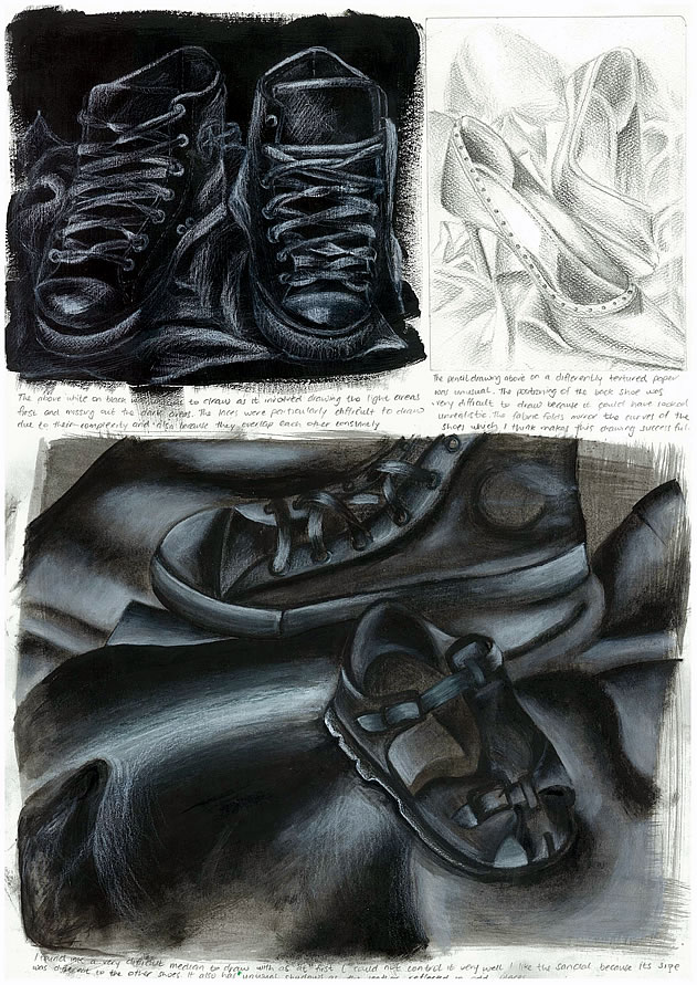 GCSE art sketchbook page showing drawings of shoes