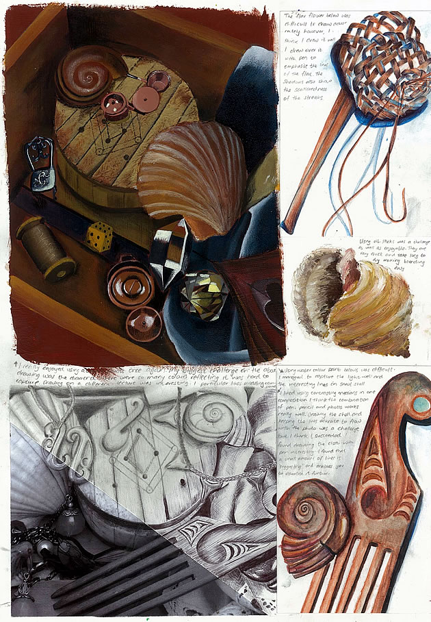 gcse art sketchbook based on a still life theme