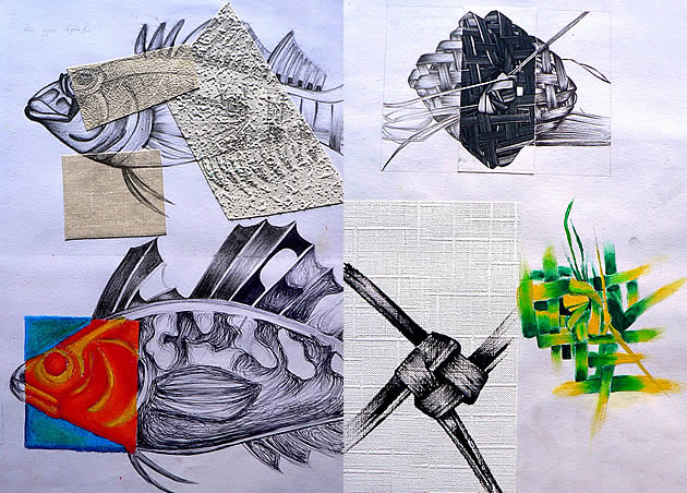 gcse art sketchbook pages showing fish and weaving