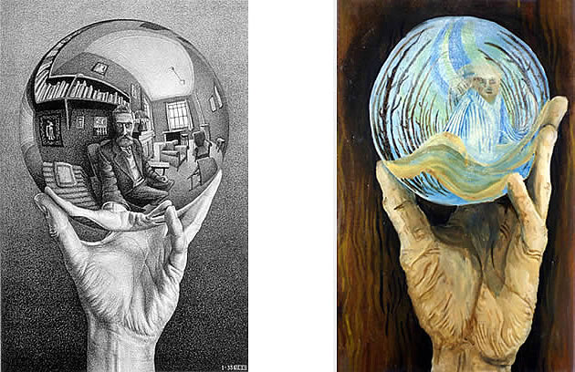 hand with reflecting sphere, M C Escher