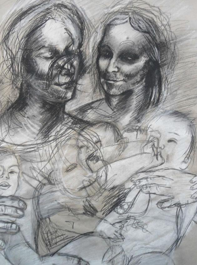 Jenny Saville da Vinci drawing