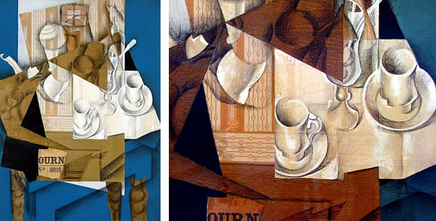 mixed media teacups painting by juan gris