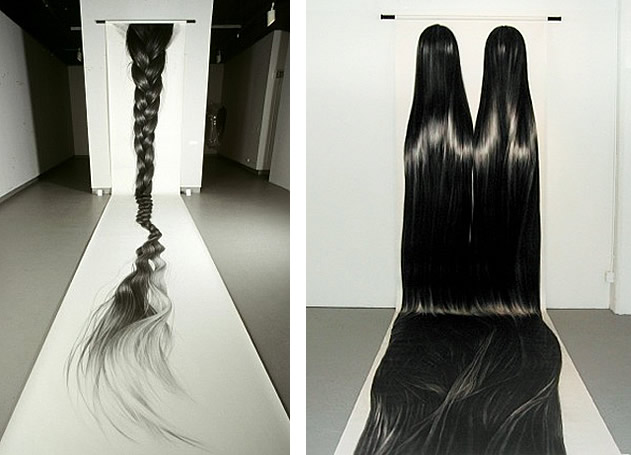 drawings of hair by Hong Chun Zhang