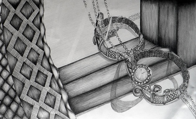 graphite pencil drawing of jewellery