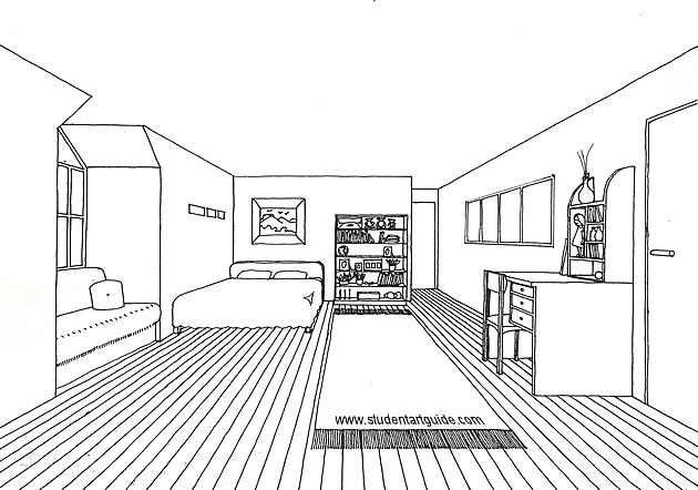 one point perspective drawing - room