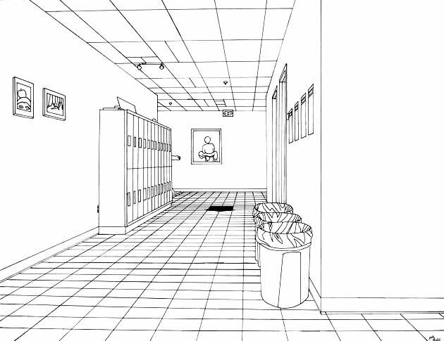 one point perspective hallway