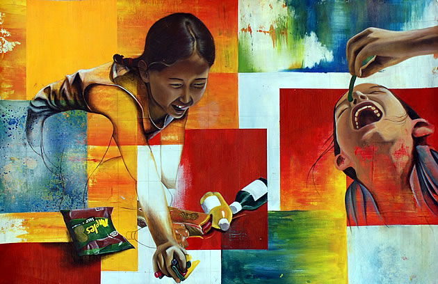 painting of children eating lollies