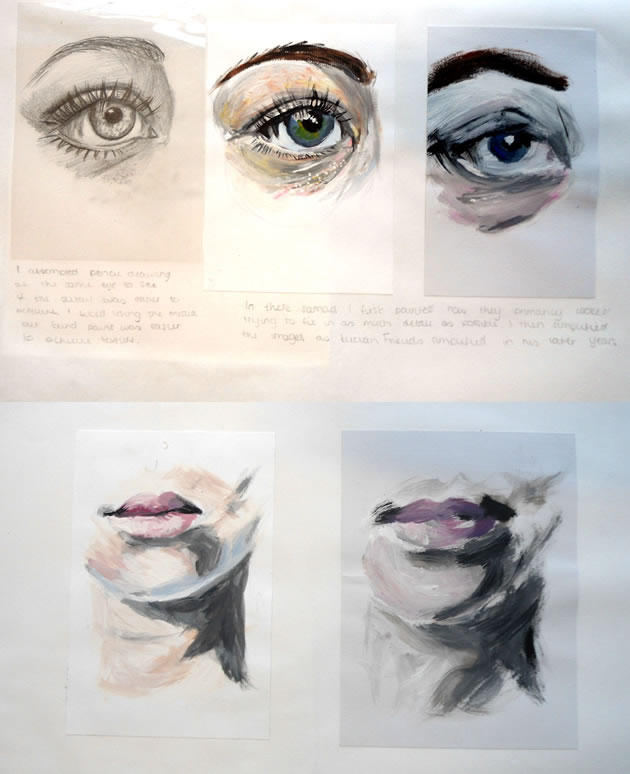 painting eyes and lips