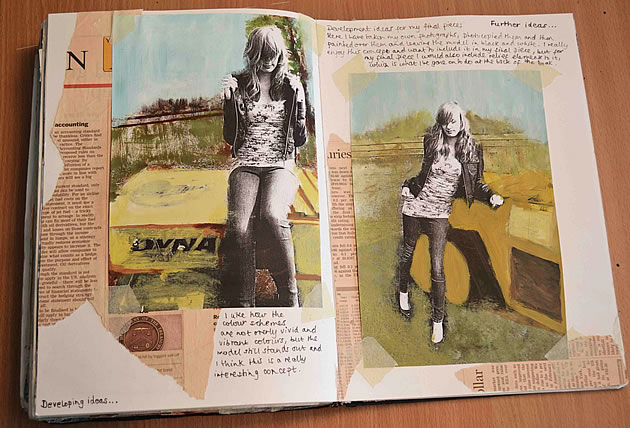 A Level photography sketchbook presentation ideas