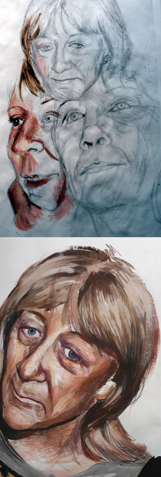 portraiture development for A Level Art