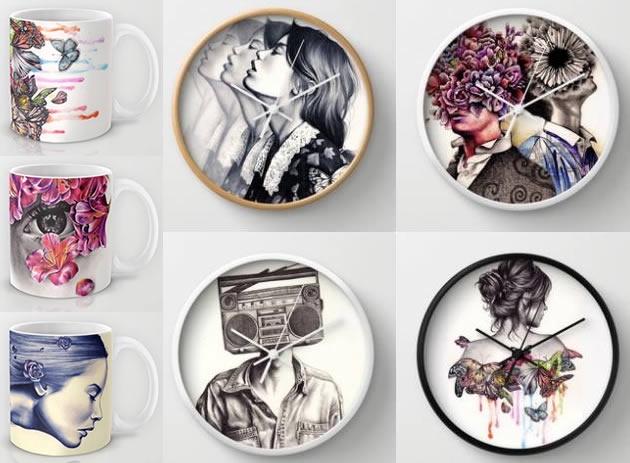 Print-on-demand mugs and clocks