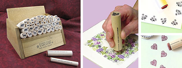 hand-made stamps from the Rubber Stamp Tapestry
