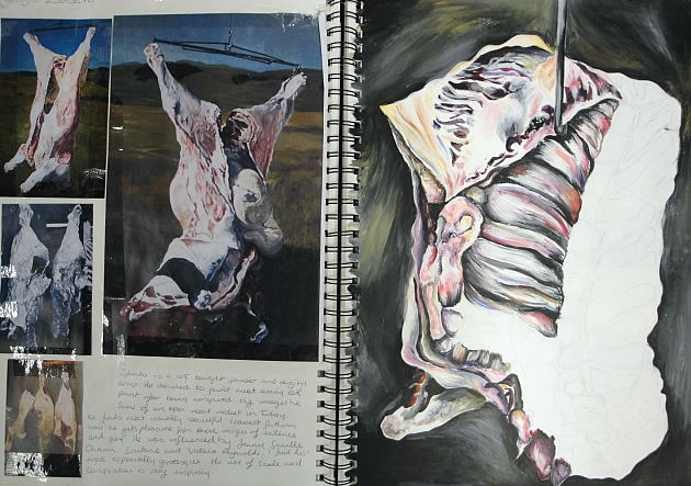 sketchbook page exploring meat carcasses