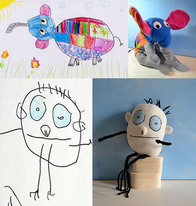 soft toys inspired by children's drawings