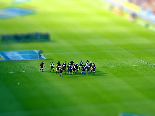 tilt shift photography - rugby field