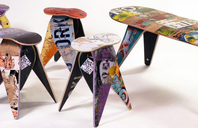 upcycled furniture by deckstool, made from broken skateboards