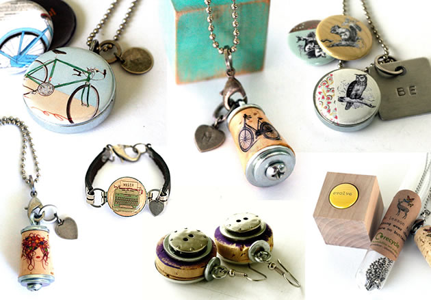 upcycled jewellery created using corks and steel car parts