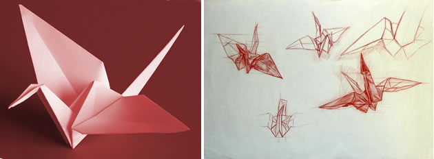 Paper crane drawing - a great sub lesson!