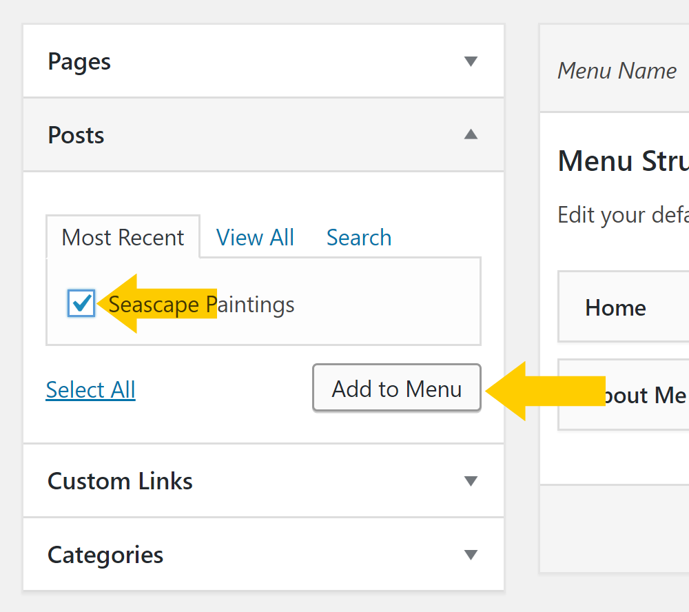 Add items to a WordPress menu