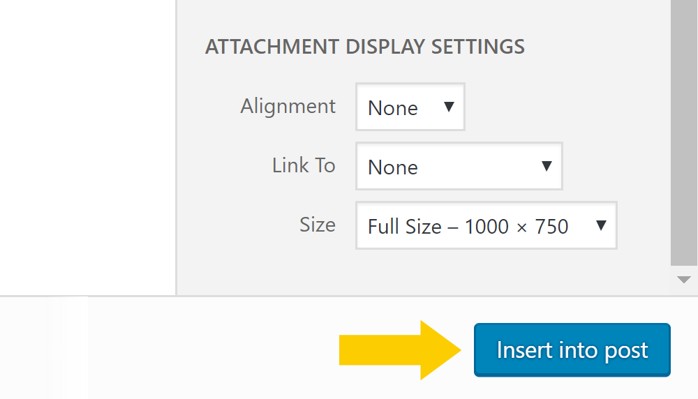 WordPress image display settings