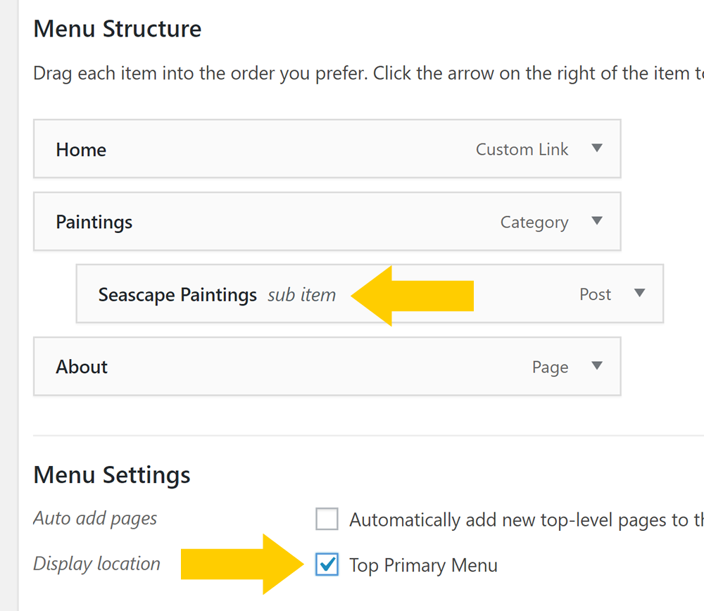 Menu structure in WordPress