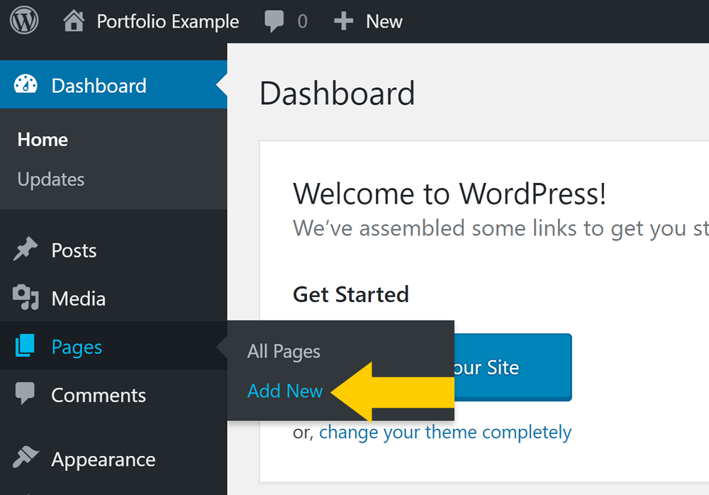 How to add a new WordPress page