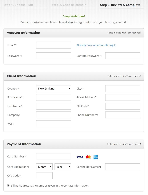 SiteGround hosting signup form