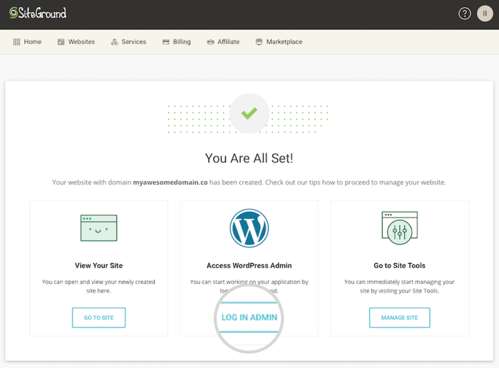 WordPress login SiteGround
