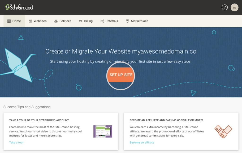 SiteGround wordpress setup