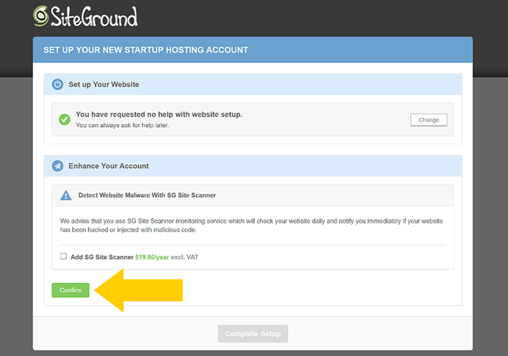 SiteGround WordPress install