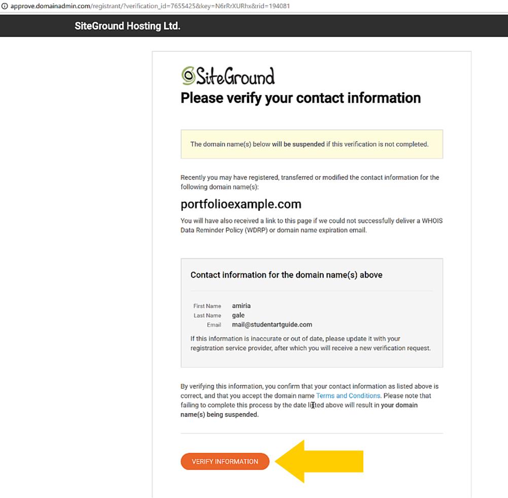 Verify contact details