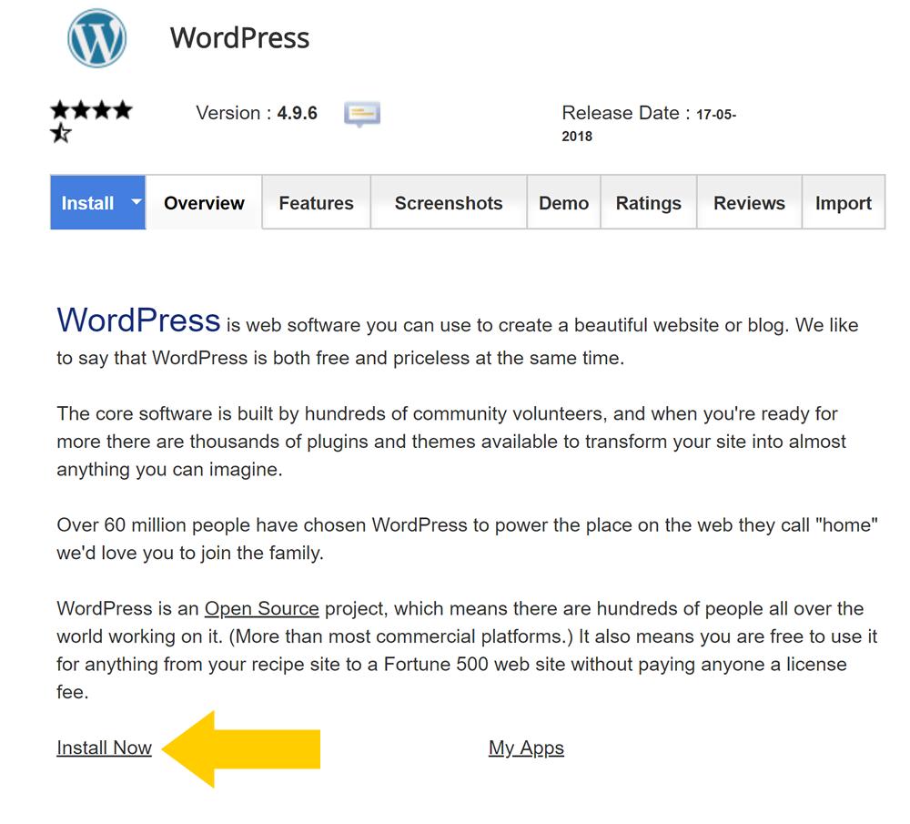 WordPress installation SiteGround